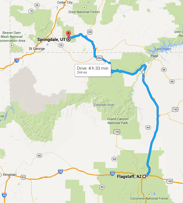 google maps Flagstaff to Springdale